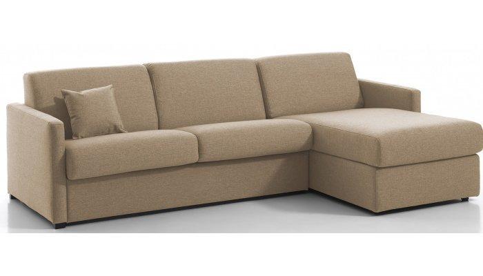 MENTON - Largeur 230 cm - Canapé d'angle convertible - Méridienne réversible - Couchage 120 cm