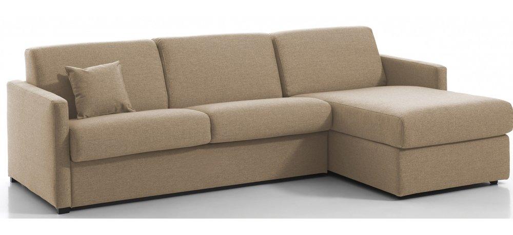 MENTON - Largeur 260 cm - Canapé d'angle convertible - Méridienne réversible - Couchage 140 cm