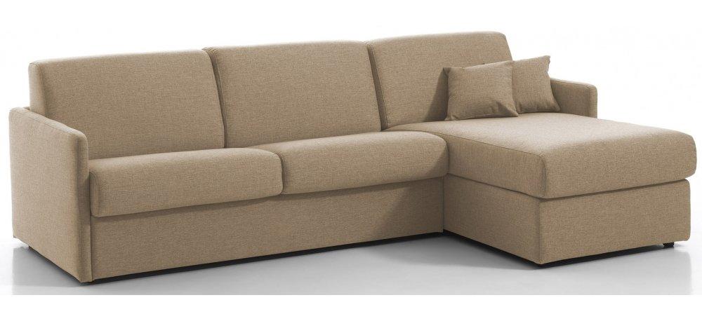 MONTPELLIER - Largeur 224 cm - Canapé d'angle convertible - Méridienne réversible - Couchage 120 cm