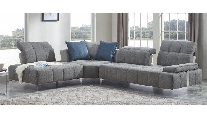 Canapé d'angle 5 places fixe PANORAMA avec méridienne à gauche - Largeur 330cm