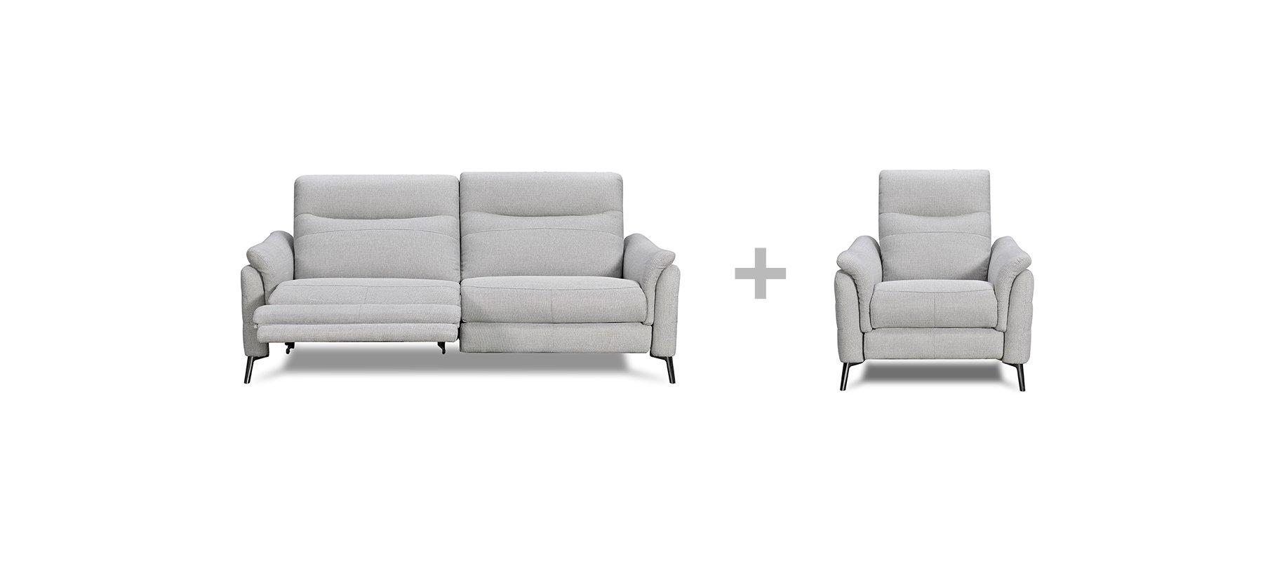 Canapé relax 3 places électrique + fauteuil relax 1 place électrique pas chers JENNY - Largeur max 289 cm