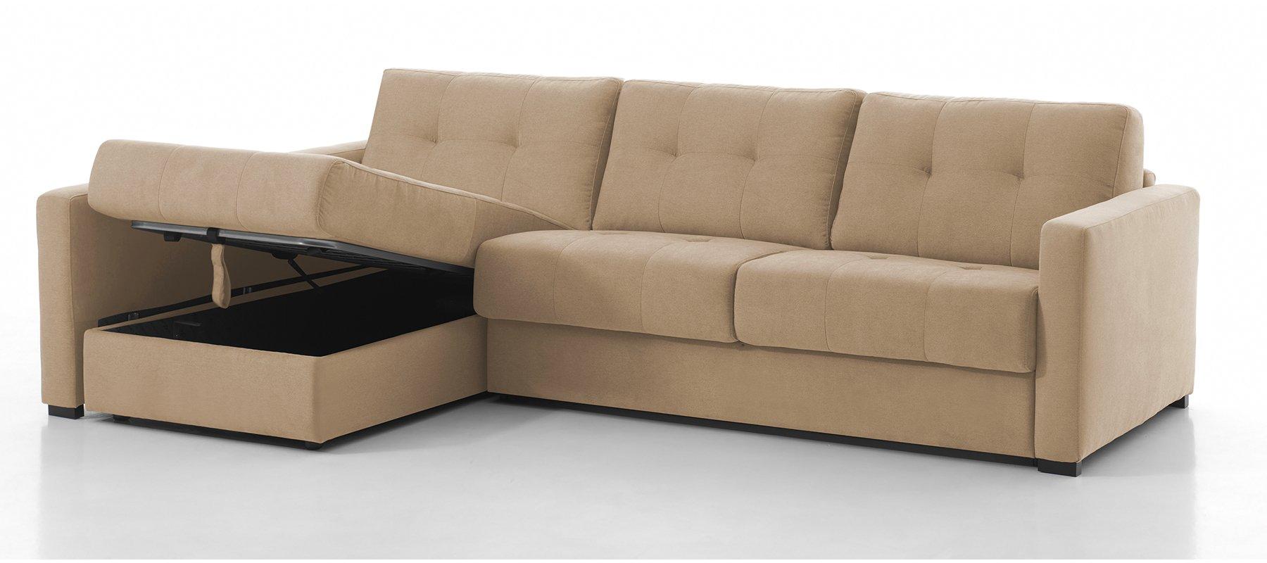 RENNES - Largeur 238 cm - Canapé d'angle convertible - Méridienne à gauche - Couchage 120 cm