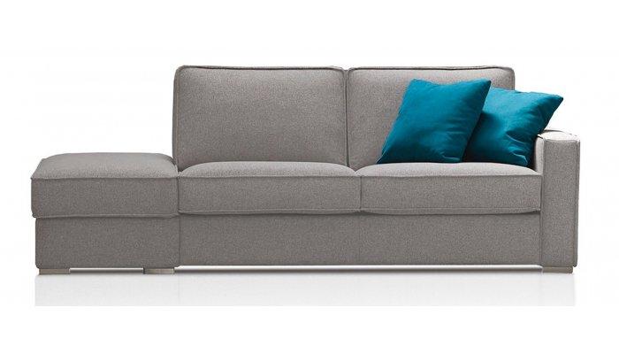 EGO - Largeur 250 cm - Canapé convertible 3 places + pouf à gauche - Couchage 140 cm