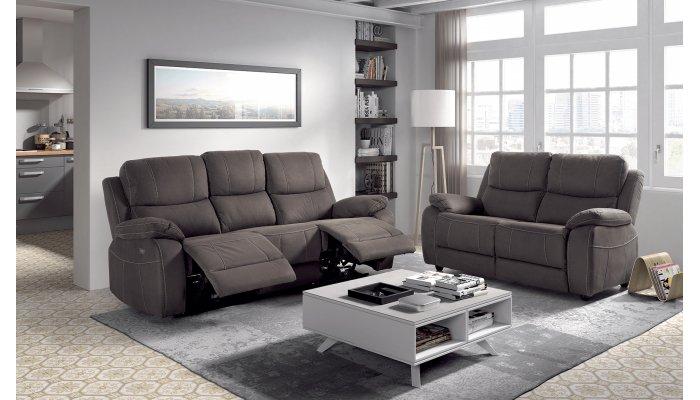 Canapé relax électrique 3 places + canapé fixe 2places NEVERS - Largeur 206 cm