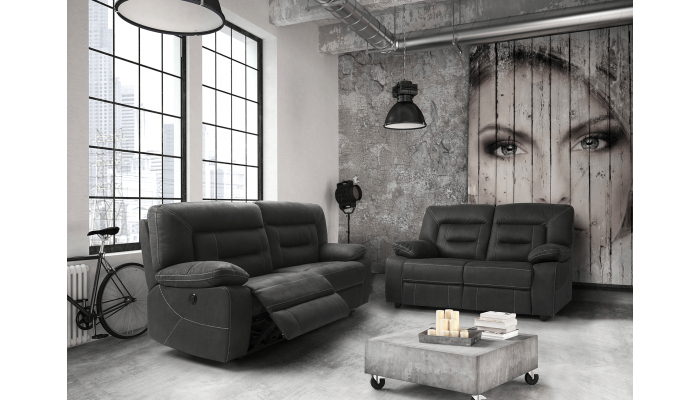 Canapé relax électrique 3 places OPIO - Largeur 204 cm