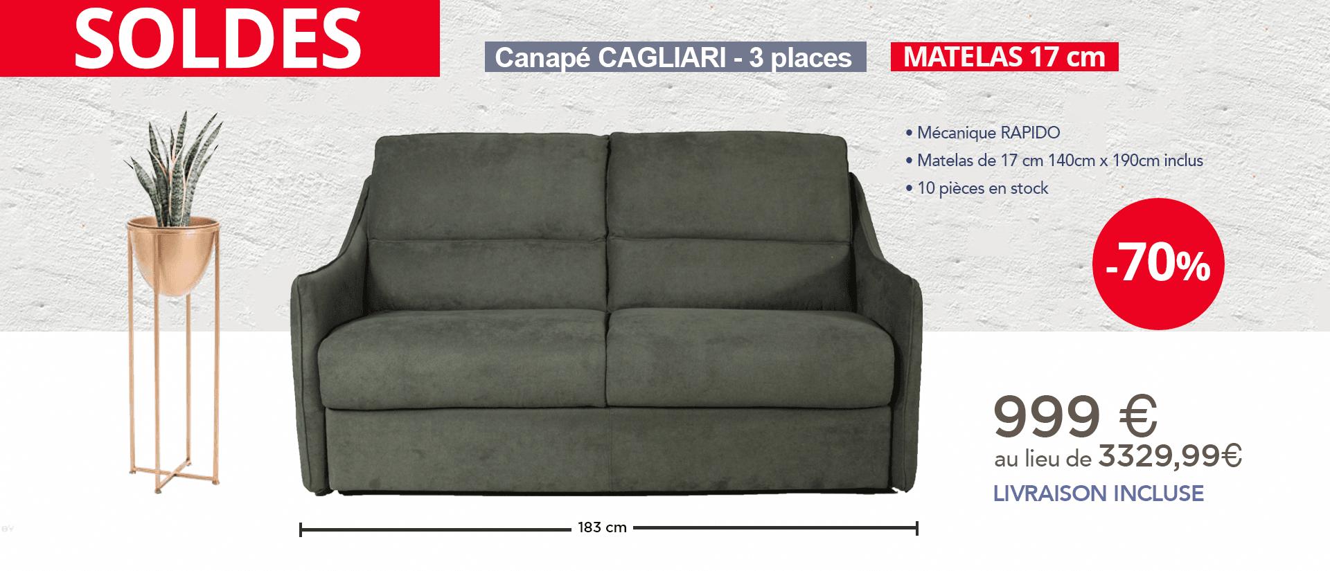 Cagliari mécanique rapido couchage 140 avec matelas de 17cm